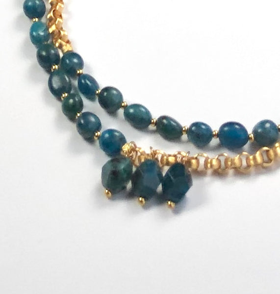 Two raw apatite gold necklace