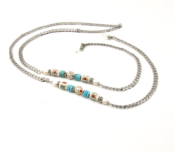 TURQUOISE GEMSTONE AND ENAMELED BEAD SILVER HANDMADE EYEGLASS CHAIN