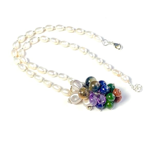 GEMSTONE CLUSTER SILVER HANDMADE NECKLACE