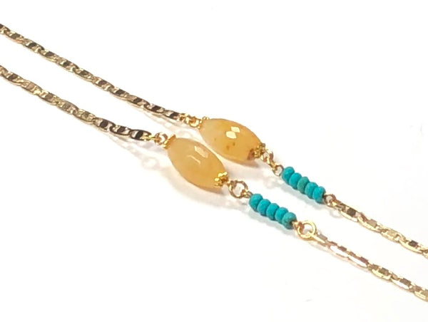 JADE TURQUOISE GOLD EYEGLASS CHAIN