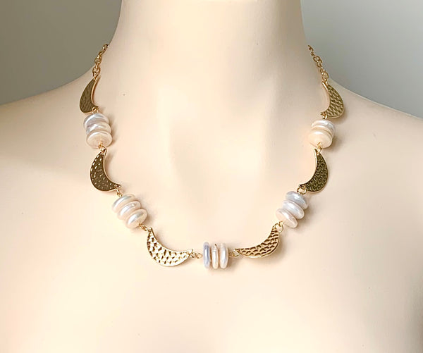 CULTURED COIN PEARL AND GOLD MOON HANDMADE NECKLACE