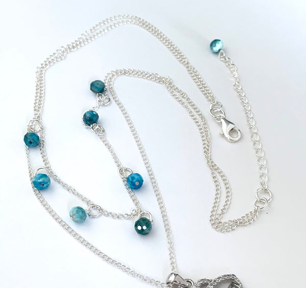 EVIL EYE AND APATITE GEMSTONE HANDMADE DOUBLE CHAIN STERLING SILVER NECKLACE