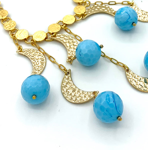 BLUE AGATE GOLD MOON HANDMADE STATEMENT NECKLACE