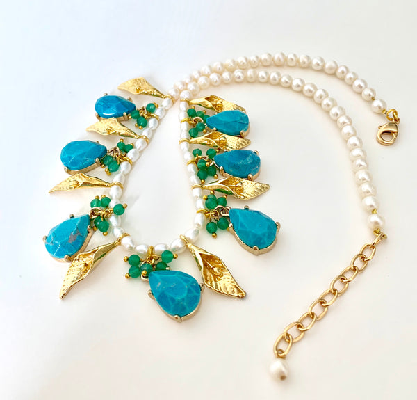 TURQUOISE GOLD LEAF STATEMENT NECKLACE