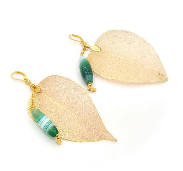 STATEMENT GREEN AGATE GEMSTONE AND GOLD LEAF HANDMADE EARRINGS
