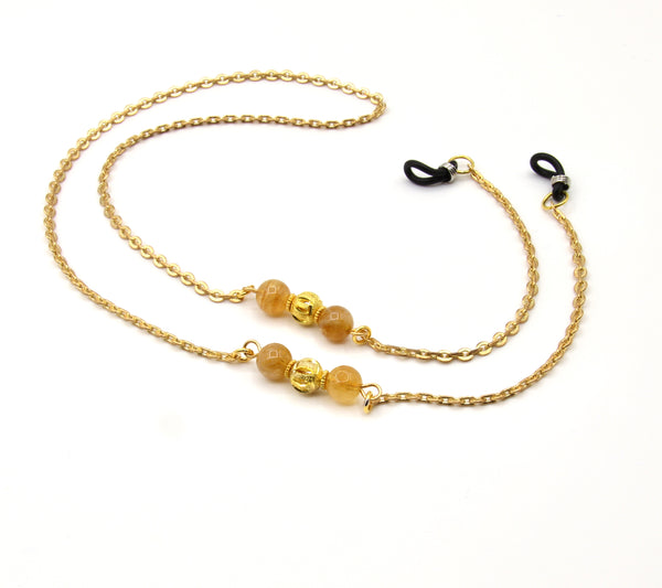 CITRON GEMSTONE HANDMADE GOLD EYEGLASS CHAIN