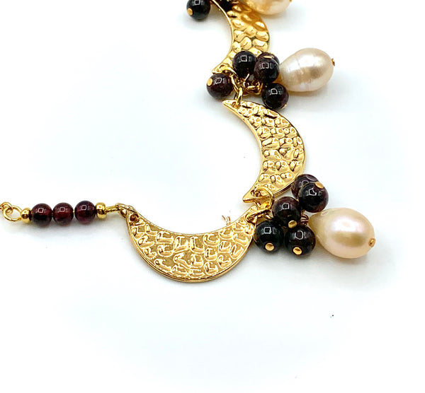 GARNET GEMSTONE AND PEARL WITH GOLD MOON HANDMADE NECKLACE