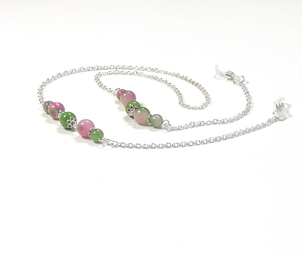 COLORFUL AGATE SILVER EYEGLASS CHAIN