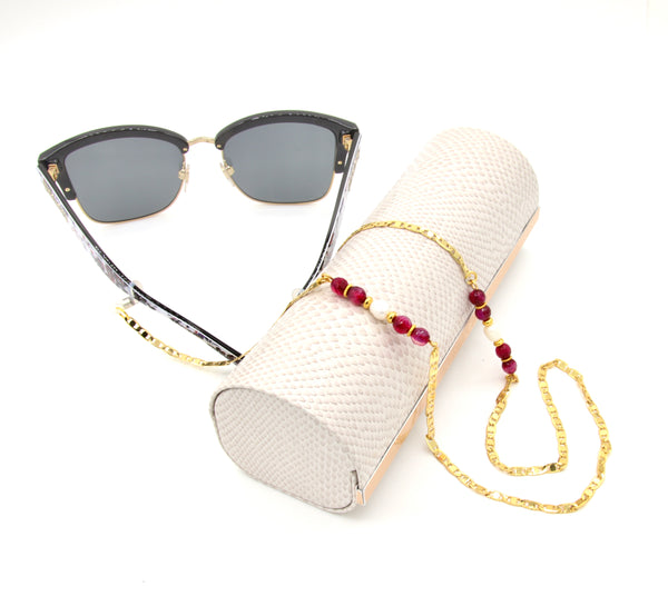RED AGATE AND PEARL HANDMADE GOLD EYEGLASS CHAIN
