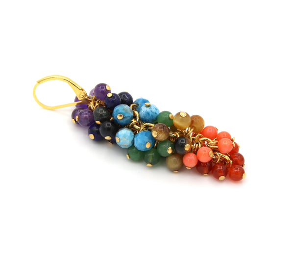 CHAKRA ASYMMETRICAL GEMSTONE GOLD HANDMADE EARRINGS