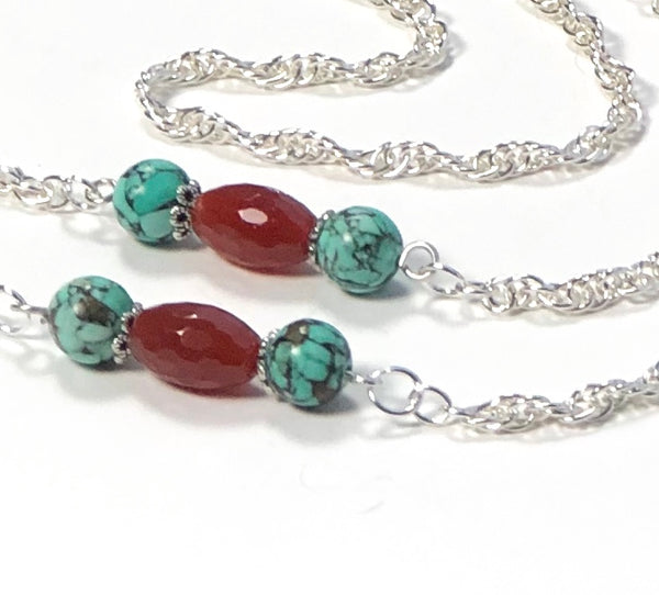 AGATE AND TURQUOISE GEMSTONES SILVER HANDMADE EYEGLASS ROLO CHAIN