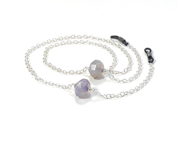 LARGE AGATE SILVER EYEGLASS CHAIN