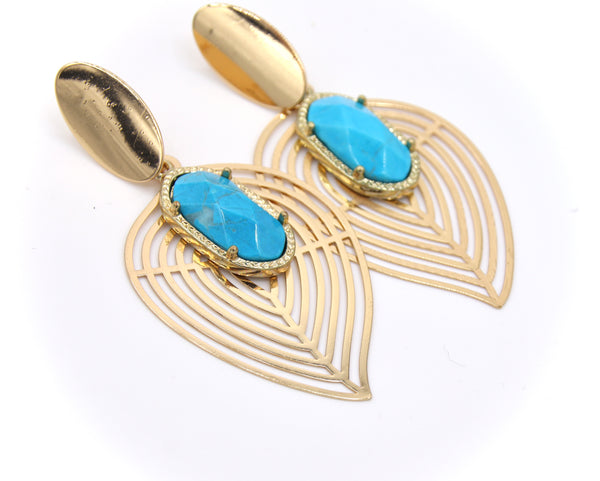 STATEMENT TURQUOISE GOLD EARRINGS