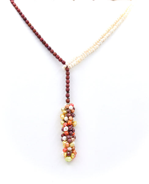 MULTICOLOUR PEARL TASSEL HANDMADE SILVER NECKLACE
