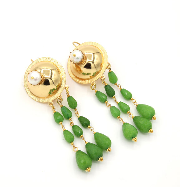 GREEN JADE GEMSTONE STATEMENT GOLD HANDMADE EARRINGS