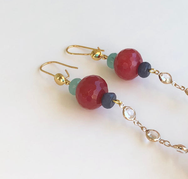 LONG DANGLE JADE GEMSTONE HANDMADE GOLD EARRINGS
