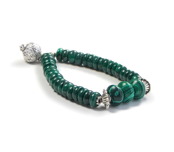 MALACHITE GEMSTONE STRETCH HANDMADE SILVER BRACELET