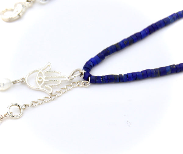 EVIL EYE AND LAPIS GEMSTONE SILVER HANDMADE NECKLACE