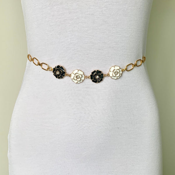 DELICATE GOLD FLOWER AND ONYX GEMSTONE HANDMADE LADIES BELT