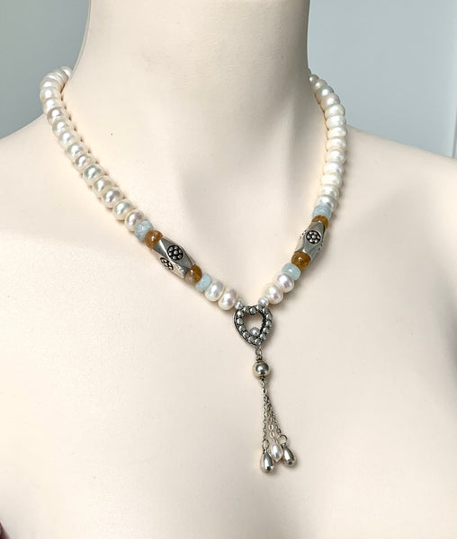 PEARL IN STERLING SILVER TASSEL NECKLACE