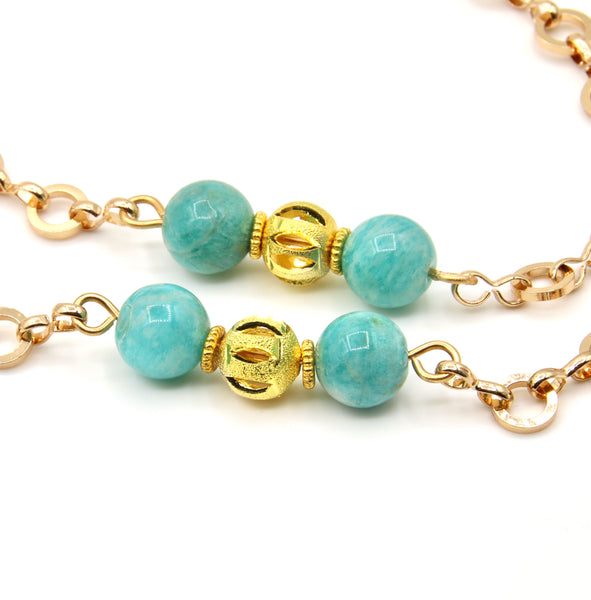 RUSSIAN AMAZONITE GEMSTONE GOLD HANDMADE EYEGLASS CHAIN