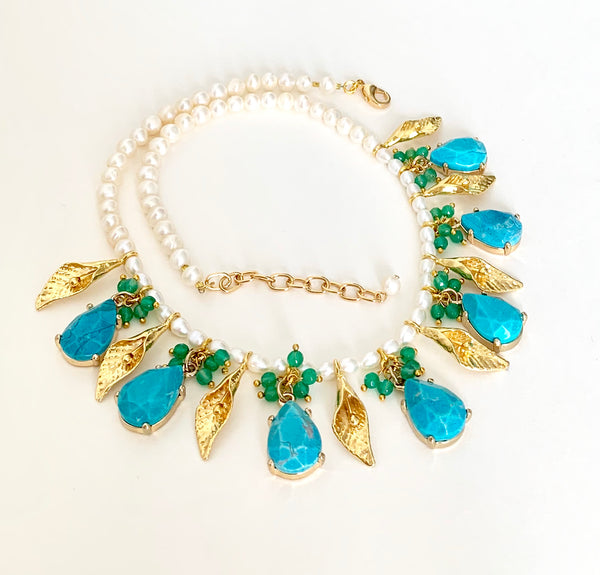 TURQUOISE GOLD LEAF HANDMADE STATEMENT NECKLACE