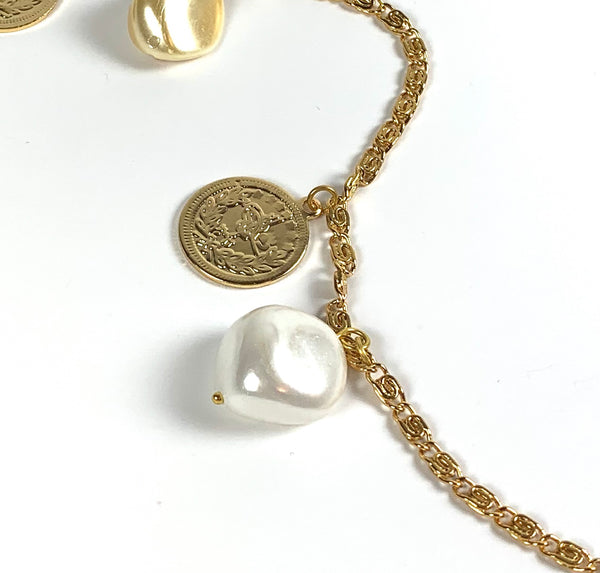 SHELL PEARL AND GOLD COIN HANDMADE LONG NECKLACE
