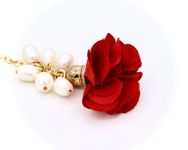 RED FLOWER AND PEARL GOLD HANDMADE EARRINGS
