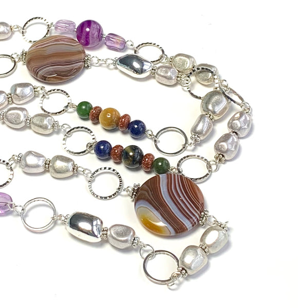 LONG SILVER MULTI GEMSTONE HANDMADE NECKLACE