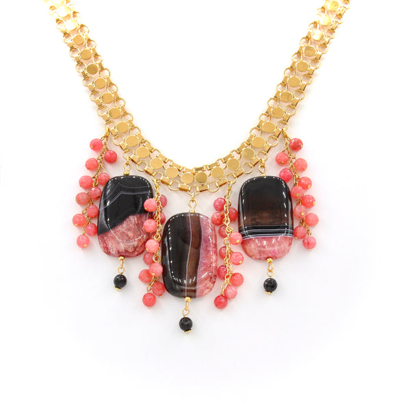 STATEMENT PINK AND BLACK AGATE GEMSTONE HANDMADE NECKLACE
