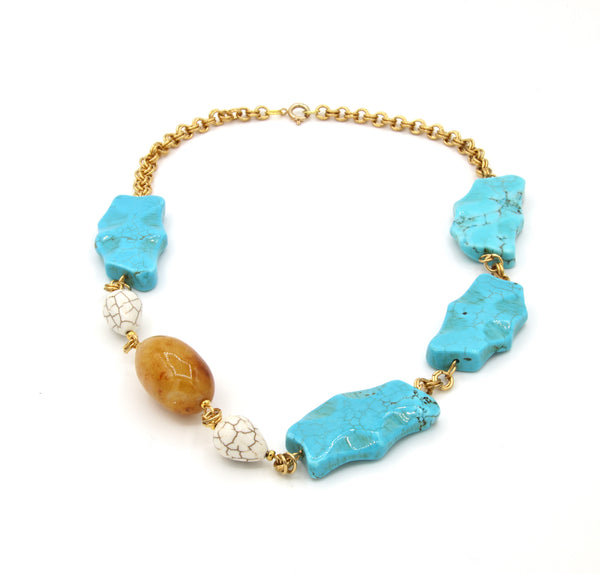 TURQUOISE HOWLITE JADE GEMSTONES HANDMADE GOLD NECKLACE