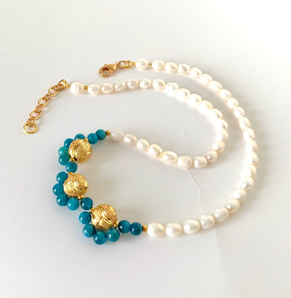 APATITE GEMSTONES AND PEARL HANDMADE GOLD NECKLACE