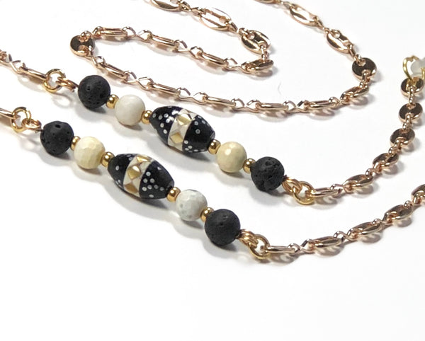 LAVA JASPER GOLD EYEGLASS CHAIN