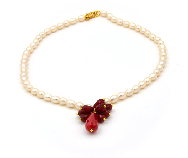 RED JADE CLUSTER AND PEARL HANDMADE GOLD NECKLACE