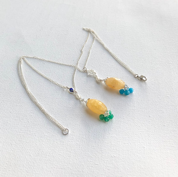 YELLOW JADE SILVER NECKLACE
