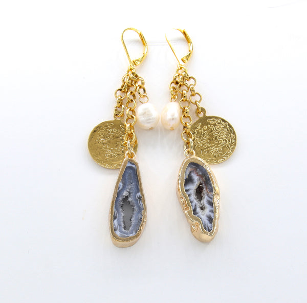 STATEMENT NATURAL AGATE AND PEARL GOLD HANDMADE EARRINGS