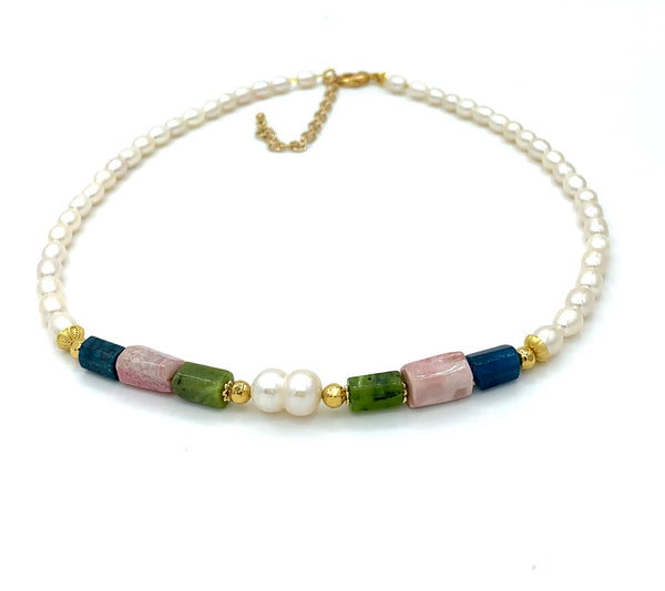 APATITE JADE RHODOCHROSITE AND PEARL GOLD HANDMADE NECKLACE