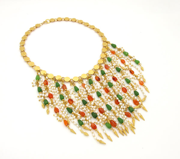 STATEMENT CARNELIAN AND JADE GEMSTONES GOLD HANDMADE NECKLACE