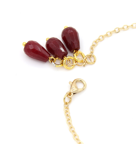 RED JADE AND EVIL EYE GOLD HANDMADE BRACELET