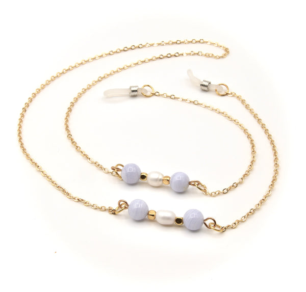 BLUE LACE AGATE GEMSTONE AND PEARL GOLD HANDMADE EYEGLASS CHAIN
