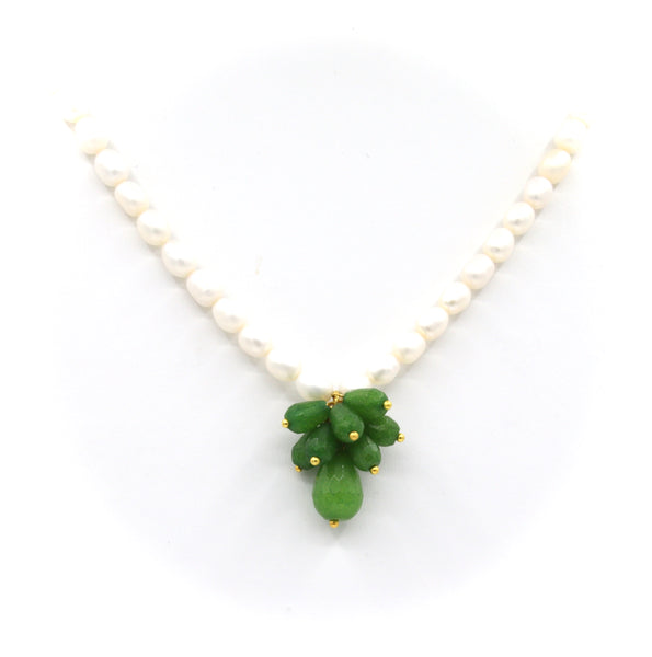 GREEN JADE CLUSTER GEMSTONE AND PEARL GOLD HANDMADE NECKLACE