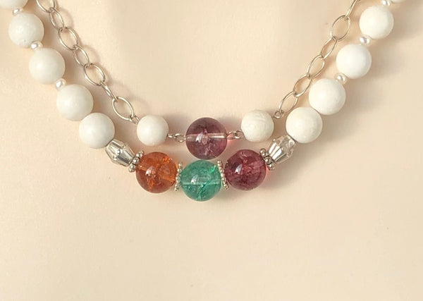 MULTICOLOUR QUARTZ GEMSTONE DOUBLE CHAIN STERLING SILVER HANDMADE NECKLACE