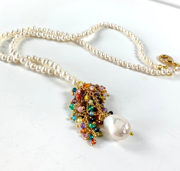 GEMSTONE CLUSTER AND PEARL HANDMADE GOLD NECKLACE