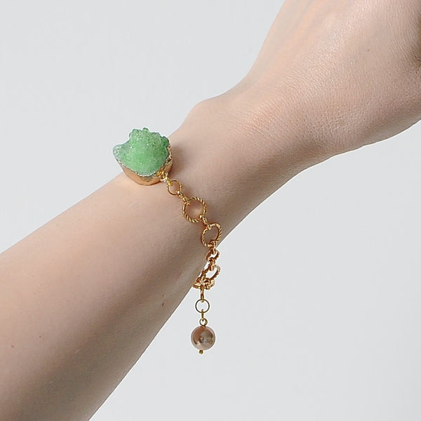 GREEN RAW QUARTZ BRACELET