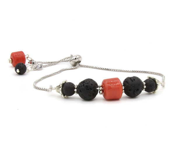 LAVA STONE AND CORAL SILVER BRACELET