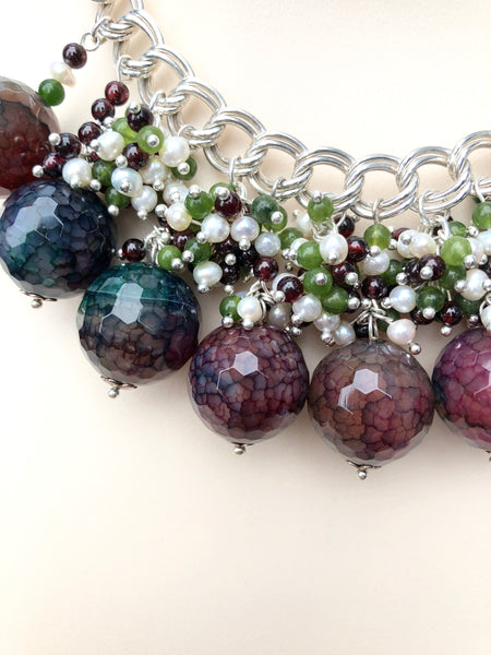 SILVER STATEMENT AGATE NECKLACE