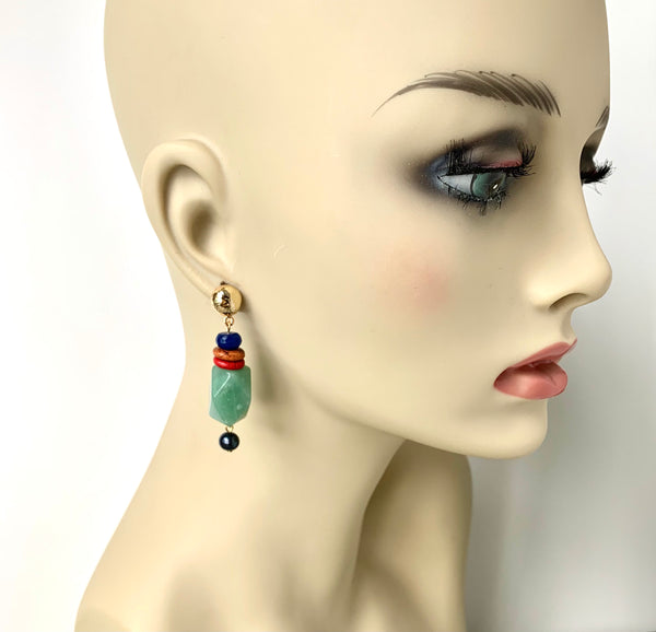 GREEN JADE GOLD EARRINGS