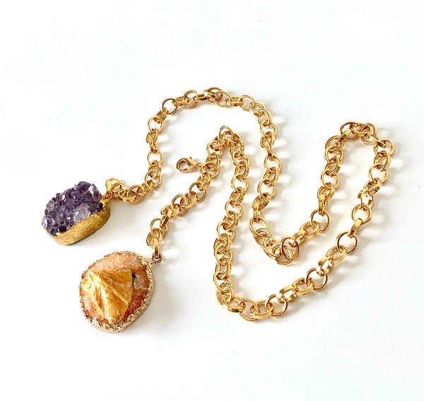 RAW AMETHYST AND JADE HANDMADE LONG GOLD NECKLACE