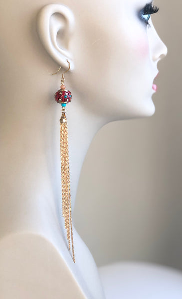 EXTRA LONG RED CLAY BEAD HANDMADE GOLD EARRINGS