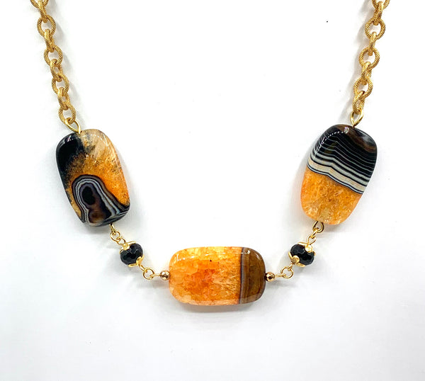YELLOW FLAT AGATE GEMSTONE HANDMADE GOLD NECKLACE